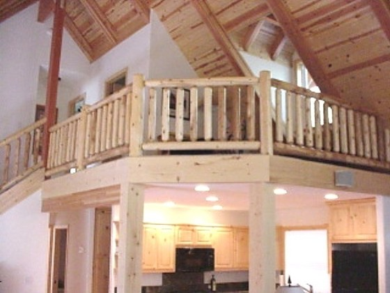 Cedar Log Railing in a loft