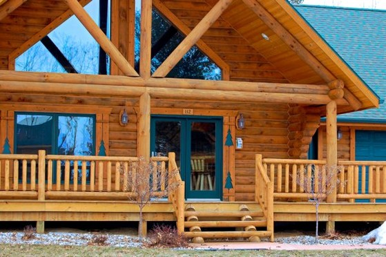 Cedar Log Railing on porch